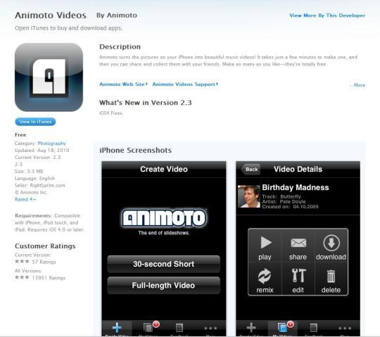 Animoto App