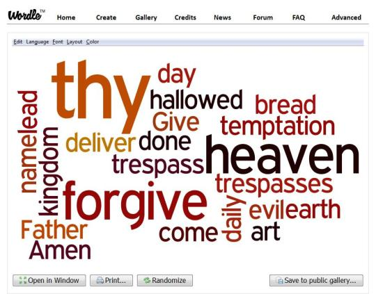 Our Father Word Cloud
