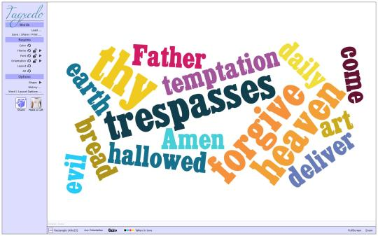 Tagxedo Our Father Word Cloud