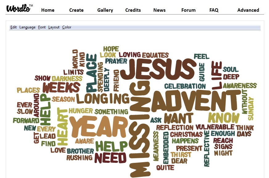 An Advent Wordle Prayer Experience (1/3)